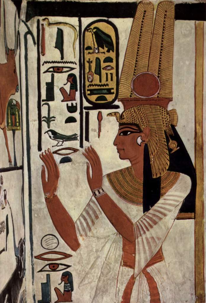 Pintura no túmulo de Nefertari, esposa do faraó Ramsés II.