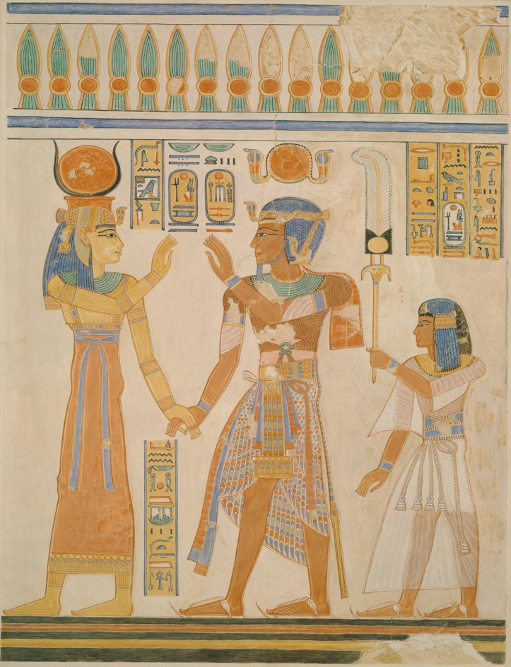 Ramsés III (no centro) e seu filho diante da deusa Hathor.