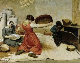Mulheres peneirando trigo