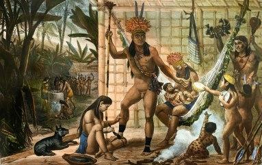 Família de um chefe Canacan se preparando para uma festa (Debret)