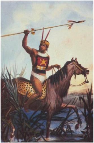 Guerreiro indígena a cavalo (Debret)